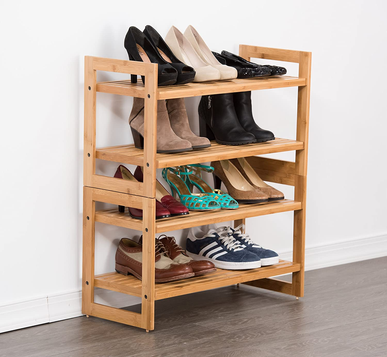 shoe homcom god stackable shelves cheap bamboo utility entryway storage home door rack tiers decor organizer