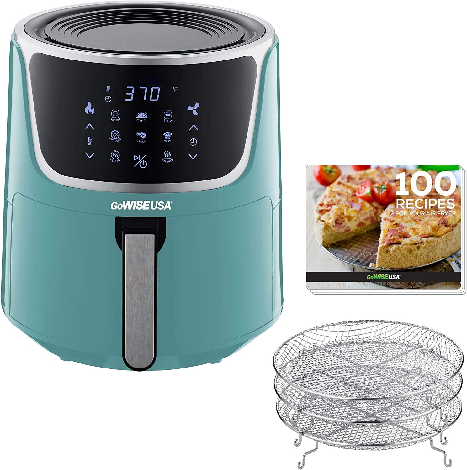 Recipe Book Mint//Silver 1.7 2 Qt Max 2.0 GoWISE USA GW22974 Electric Mini Air Fryer with Digital Touchscreen