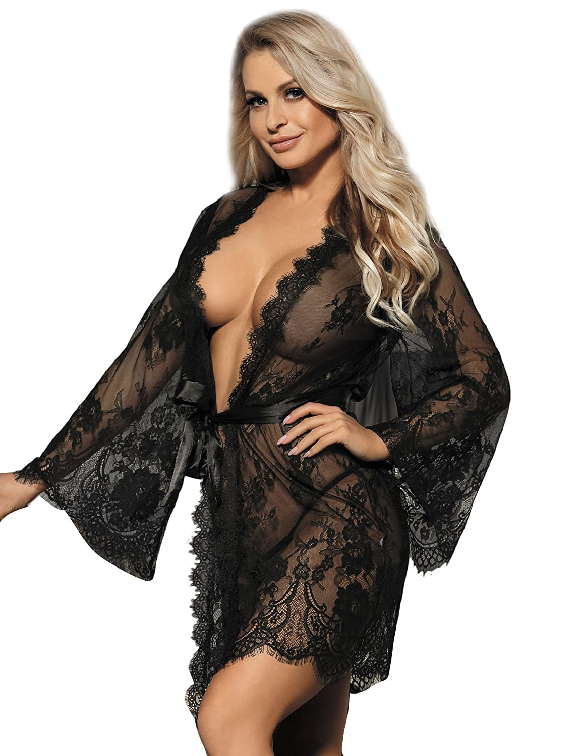 ohyeahlady Women Lace Robe Lingerie Nightdresses Plus Size Sheer Kimono Long  Sleeve Nightwear Sleepwear  Amazon.co.uk  Clothing 41cff2e75
