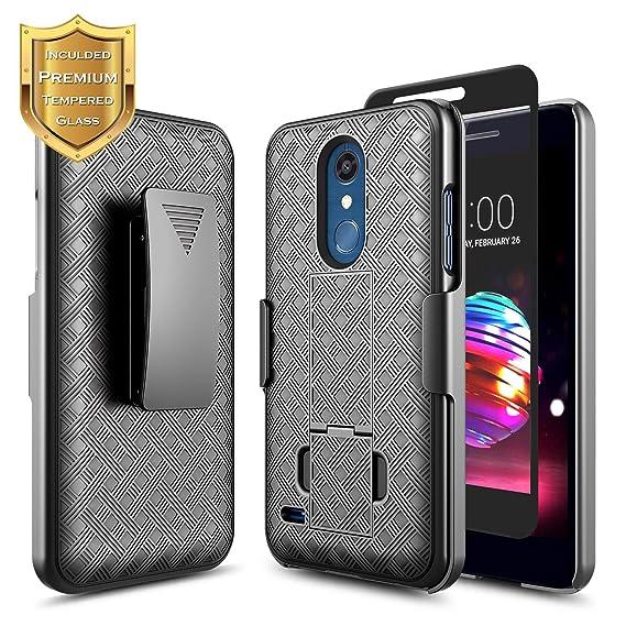 LG Phoenix Plus Case, K30 /Premier Pro/Harmony 2 /K10 2018 w/[Full Cover  Tempered Glass Screen Protector], NageBee Belt Clip Holster Ultra Slim