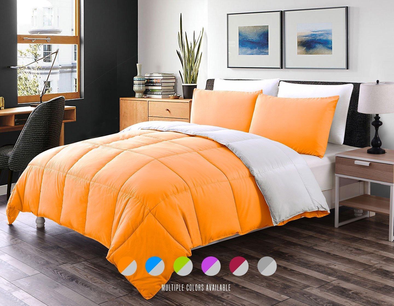 Luxe寝具3-pcsリバーシブルダウン代替キルト地羽毛布団/布団セット – すべてシーズンホテル品質 ツイン オレンジ COMIN18JU079566 B072DV2336 ツイン Orange / Gray Orange / Gray ツイン