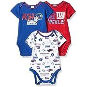 NFL New York Giants Unisex-Baby 3-Pack Short Sleeve Bodysuits, Blue, 0-3 Months