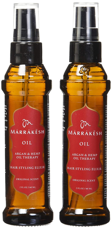 Earthly Body Marrakesh Oil Hair Styling Elixir with Hemp & Argan Oils Hair And Scalp Treatments (Oil 2 Oz - Set of 2)