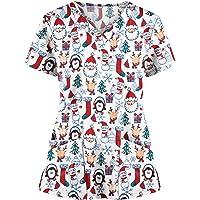 RJDJ home Printed Uniform Scrubs Tops Women Short Sleeve Christmas Prints Medical Uniforms Casual Nursing Shirts Nurse…