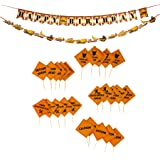 Construction Birthday Party Supplies - 27-Piece Construction Party Decorations Includes Happy Birthday Banner, Trucks Bunting Banner, and 25 Cupcake Toppers, Kids Party Favors