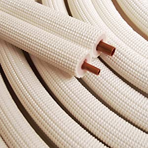 "3/8"" - 5/8"" Insulated Copper Coil Line Set - Seamless Pipe Tube for HVAC, Refrigerant - 1/2"" White Insulation EZ Twin Set - 50' Long"