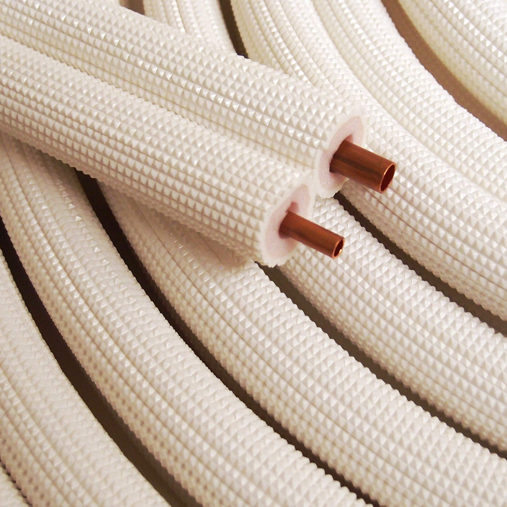 1/4'' - 3/8'' Insulated Copper Coil Line Set - Seamless Pipe Tube for HVAC, Refrigerant - 1/2'' White Insulation EZ Twin Set - 50' Long by HVAC Premium