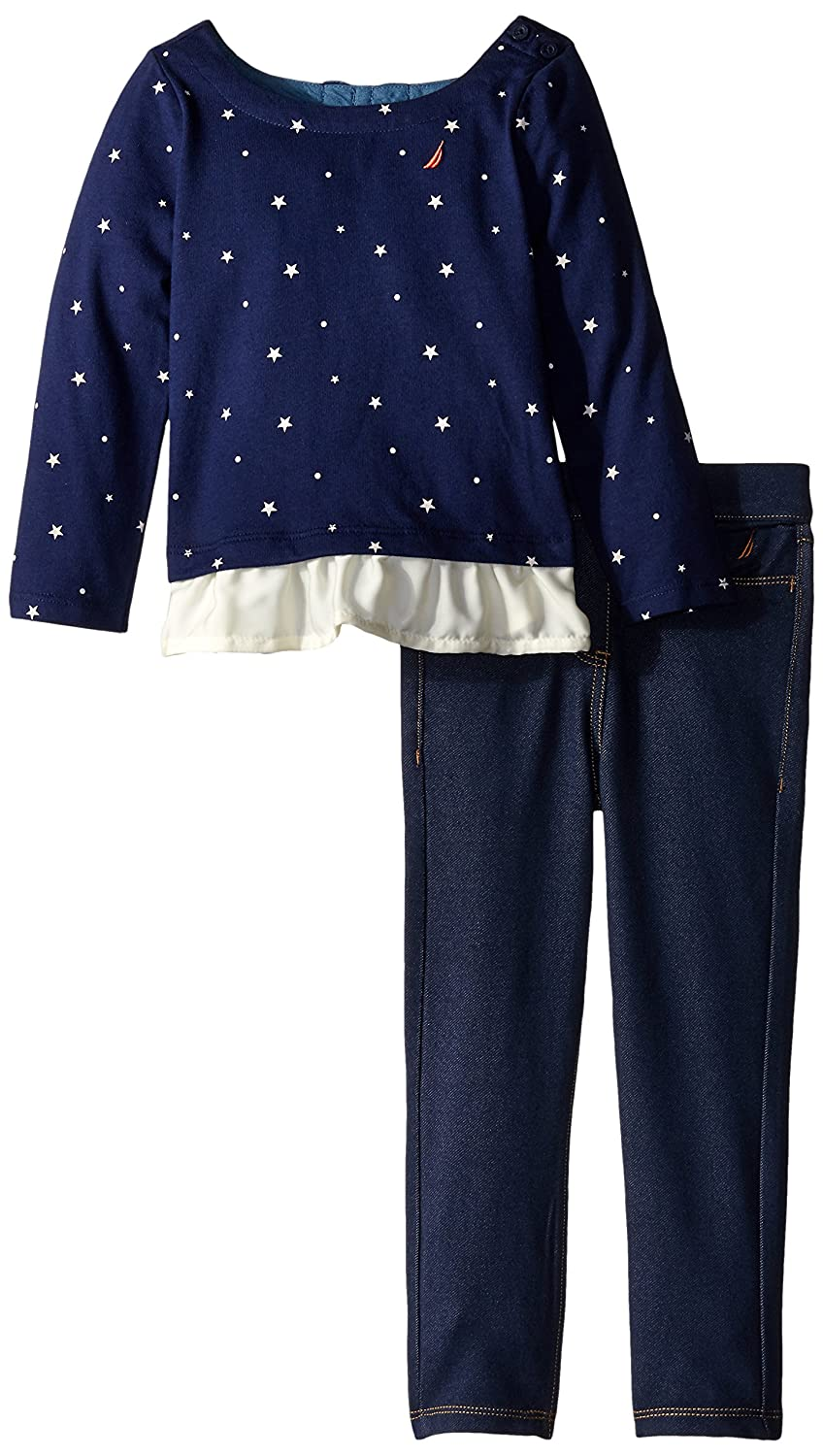 Nautica Girls 2 Piece Set Top with Contrast Peplum with Knit Jegging