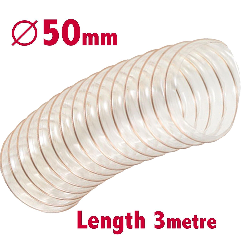Flexible Transparente Staubabscheider Schlauch 50/mm ID X 4/M L/änge S/ägemehl L/ötrauchabsaugung Holz Bel/üftung Luftf/ührung Rohr