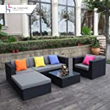 H&L Patio 6PCS Rattan Wicker Sofa Set Outdoor Garden Furniture Cushioned Sofa Set with Ottoman Black,No Assembly Required