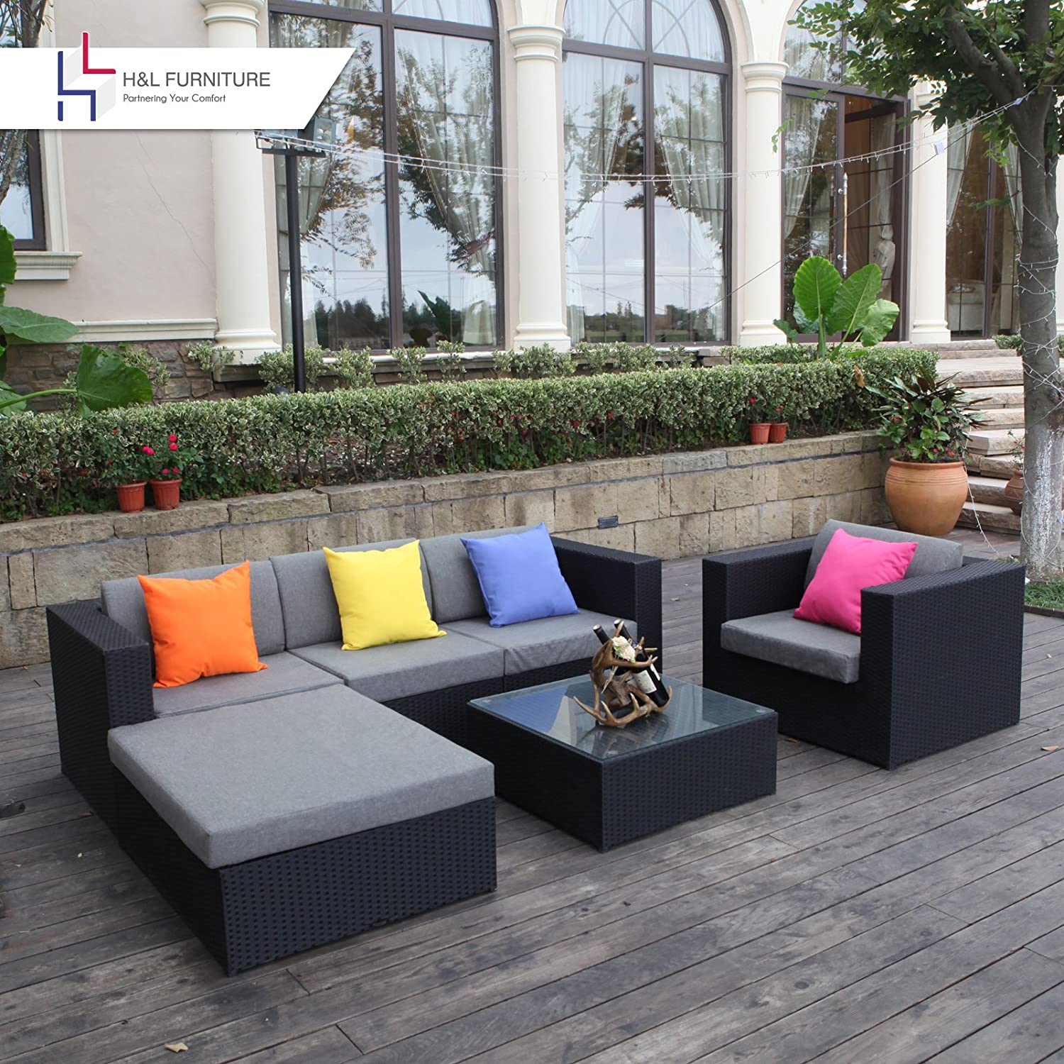 Amazon H&L Patio 6PCS Rattan Wicker Sofa Set Outdoor Garden