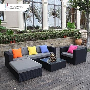 Amazon Com H L Patio Rattan Wicker Sofa Set Outdoor Garden