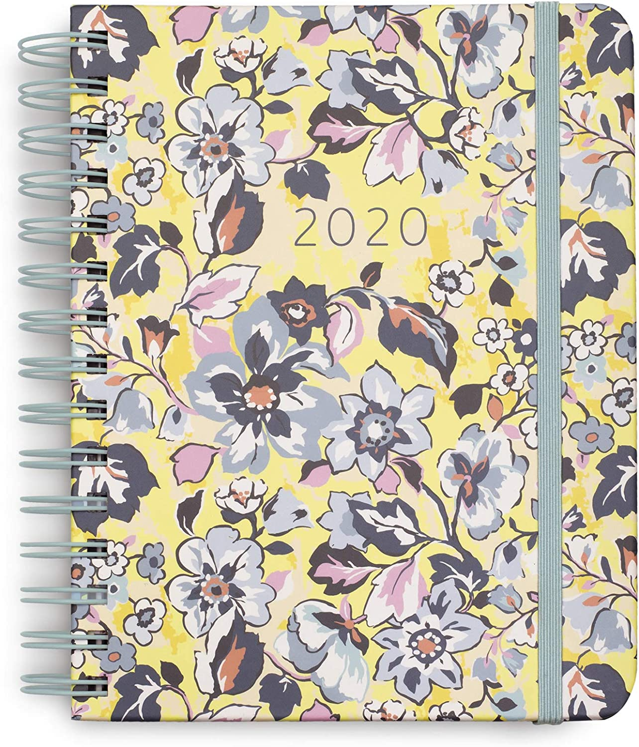 Vera Bradley 2020-2021 Planner Daily Weekly & Monthly, 17 Month Medium Hardcover Personal Planner Dated Aug 2020-Dec 2021 with Stickers, Holidays/Notes Pages, Pocket, Monthly Tabs, Sunny Garden