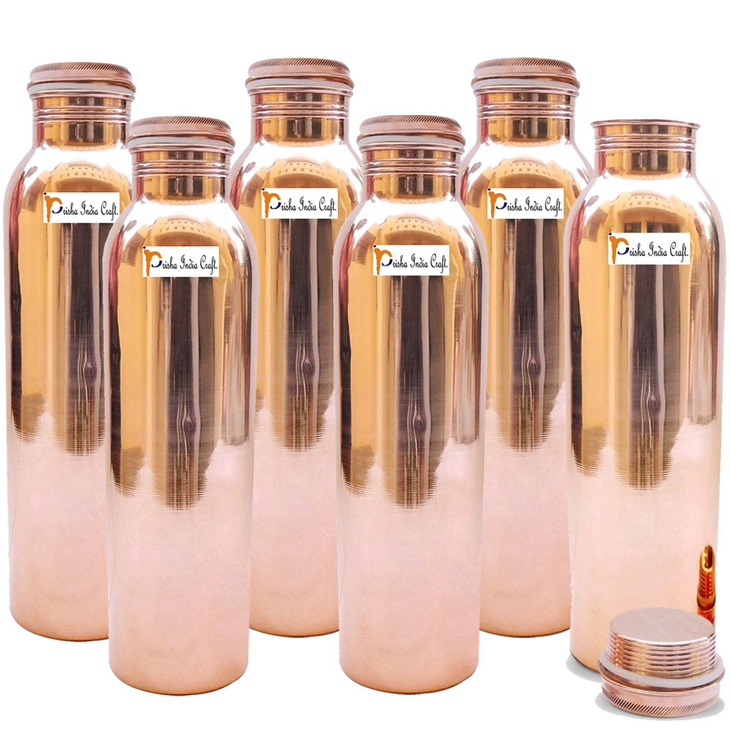1150ml / 38.89oz - Set of 6 - Prisha India Craft Pure Copper Water Bottle for Health Benefits - Water Bottles Joint Free, Handmade - Christmas Gift