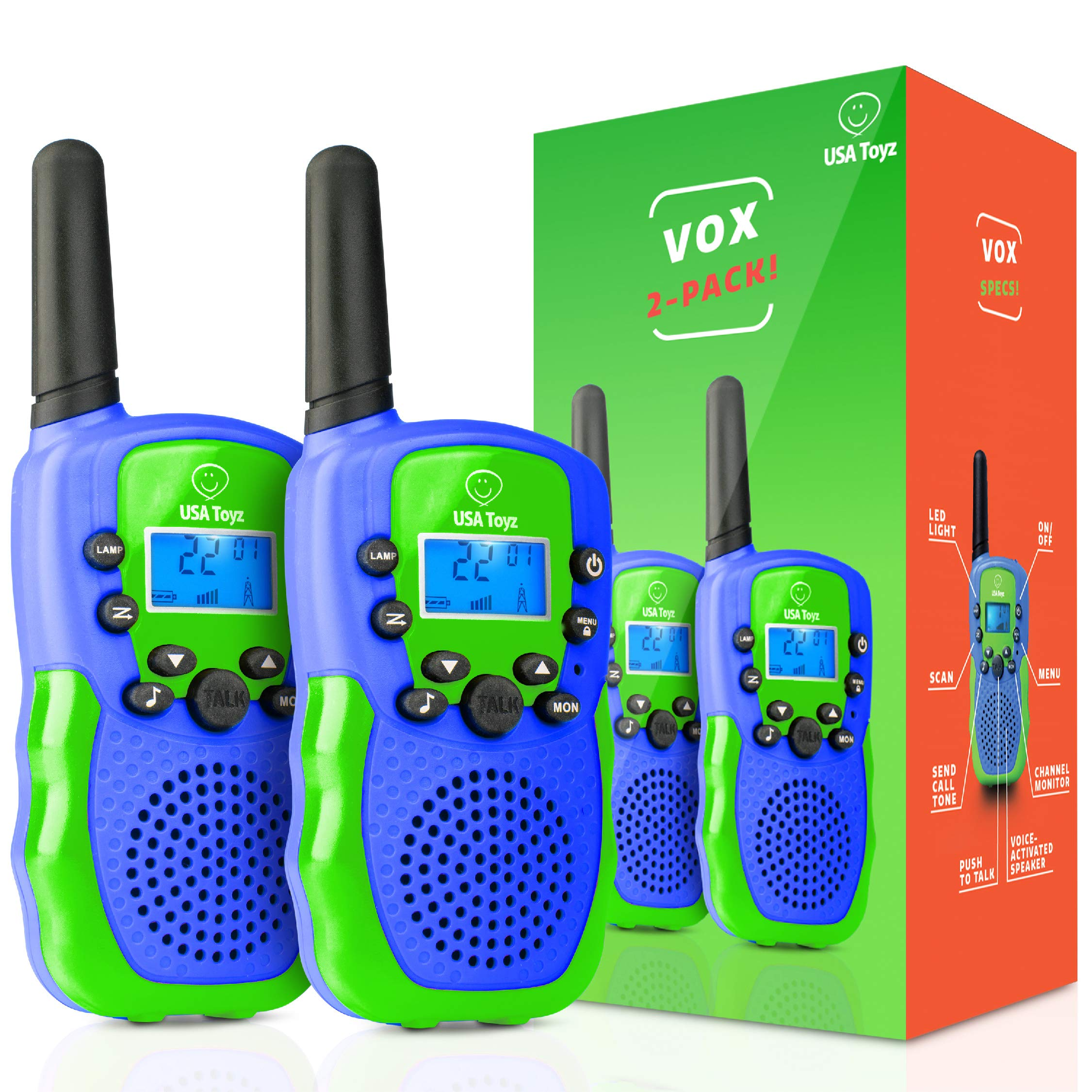 USA Toyz Walkie Talkies for Kids Vox Box Kids Walkie Talkies for Boys Or Girls, Voice Activated Long Range Outdoor Toys Walkie Talkie Set (Blue/Green)