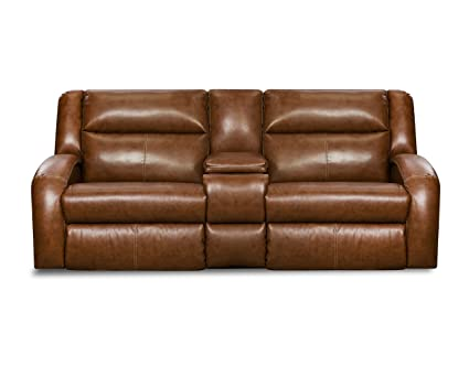 Etonnant Southern Motion Double Reclining Motion Sofa With Console In Saddle Bonded  Leather Cover