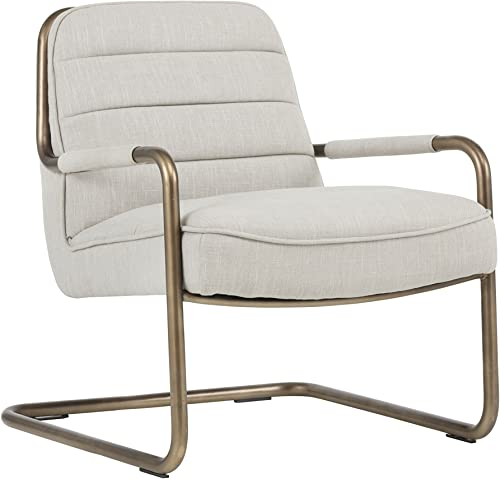 Editors' Choice: Sunpan Modern Sunpan Lincoln Lounge Rustic Bronze-Beige Linen Fabric Chair