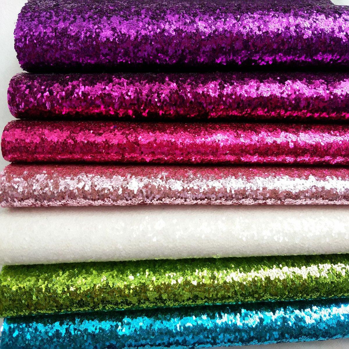 ZAIONE 8 pcs A4 (8 x 12) Sheets ColorfulPastel Fine Glitter Vinyl Fabric Sparkle Leather Material Crafts Bow Decor Plain for Shoes Bag Sewing Patchwork DIY Craft Applique (Fine Glitter-Pastel)