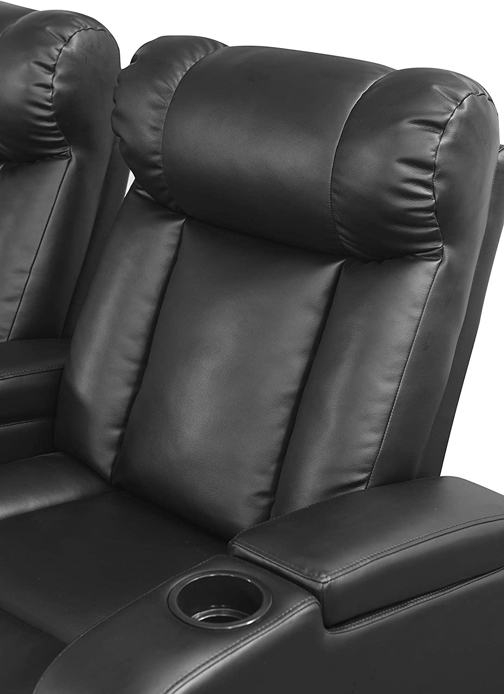 Black Abbyson Living 3 Piece Leather Power Reclining Theatre Set