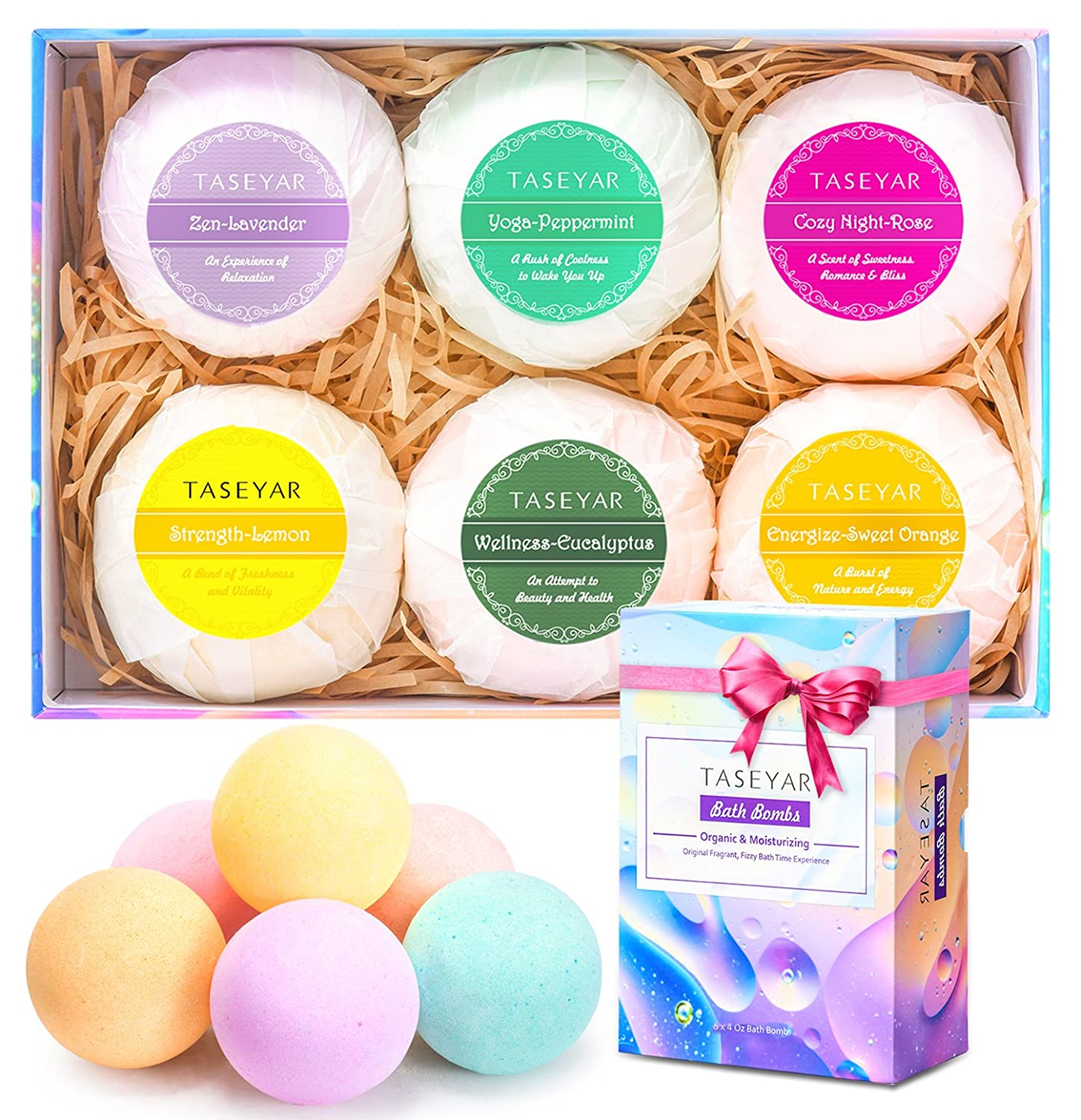 3eb07f3a140b4 Bath Bombs Gift Set, TASEYAR Lush Natural Bubble Fizzies Spa Kit With Shea  Butter & Essential Oils for...