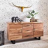FineBuy Massives Sideboard TREE 160 x 84 x 46 cm Massiv-Holz Akazie Natur Baumkante Anrichte | Landhaus-Stil Kommode mit Schubladen & Türen | Flur Schrank Standschrank