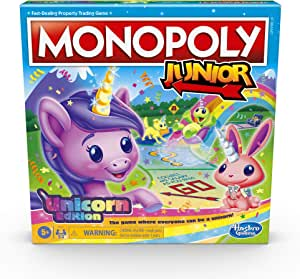 Monopoly Junior: Unicorn Edition - Magical-Themed Indoor Game - 2-4 Players – Kids Board Games and Toys for Girls, Boys - Ages 5+