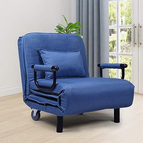 JAXSUNNY 29.5″ Width Blue Sofa Chair Bed
