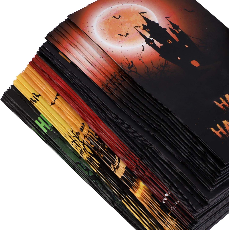 Cooraby Lot de 60 sacs en papier pour Halloween Citrouille Goodie