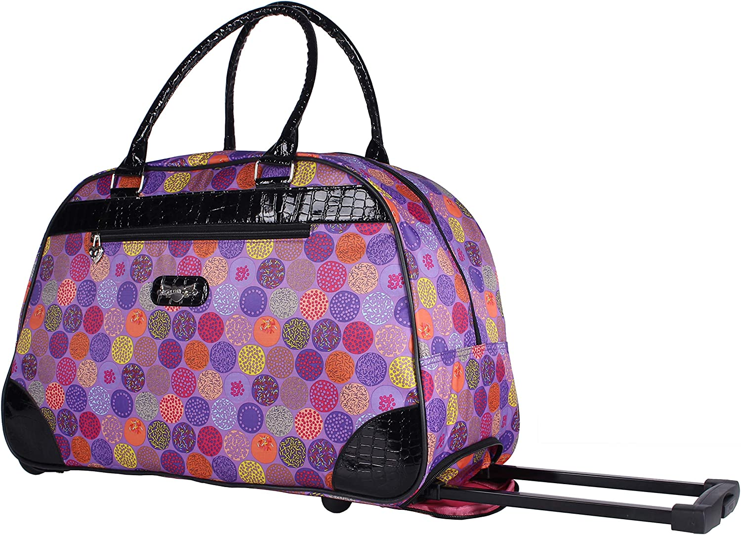 Kathy Van Zeeland Designer 22 Inch Carry On - Weekender Overnight Business Travel Luggage - Lightweight Printed 2-Rolling Spinner Wheels Duffel Bag (Pop up Lavander)