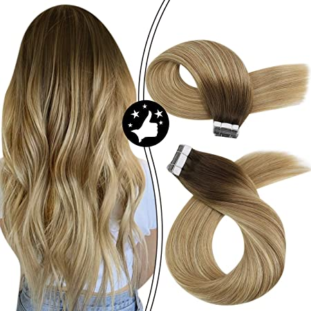 Image ofMoresoo Remy Tape Hair Extensions Brown #3 Mixed Light Brown #8 and Blonde #22 14 Pulgadas/35cm 20pcs/50g Skin Weft Extensiones Adhesivas