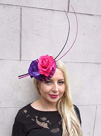 Starcrossed Boutique Hot Pink Purple Rose Quill Feather Flower Fascinator  Hat Hair Clip Races 3357  Amazon.co.uk  Beauty 948a2573e9bd