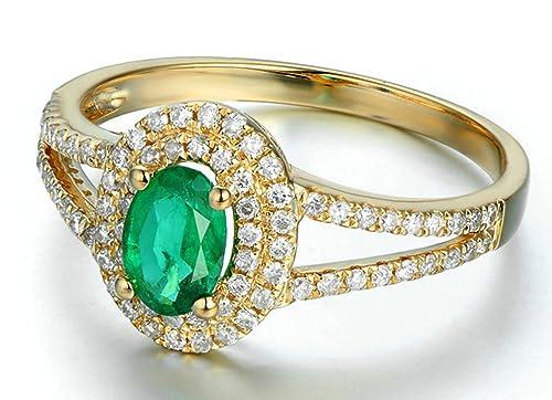 Epinki 18k Oro Anillo para Mujer óvalo Anillo de Diamante Anillos Compromiso con Blanco Verde Diamante Esmeralda: Amazon.es: Joyería