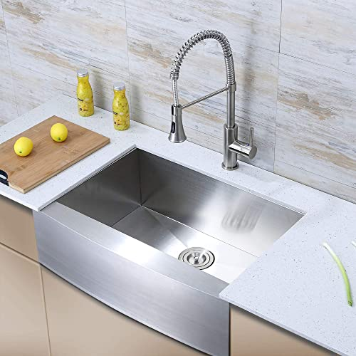 Luxier AFS33-18Z 33 Inch Farmhouse Apron Single Bowl 18 Gauge Stainless Steel Kitchen Sink