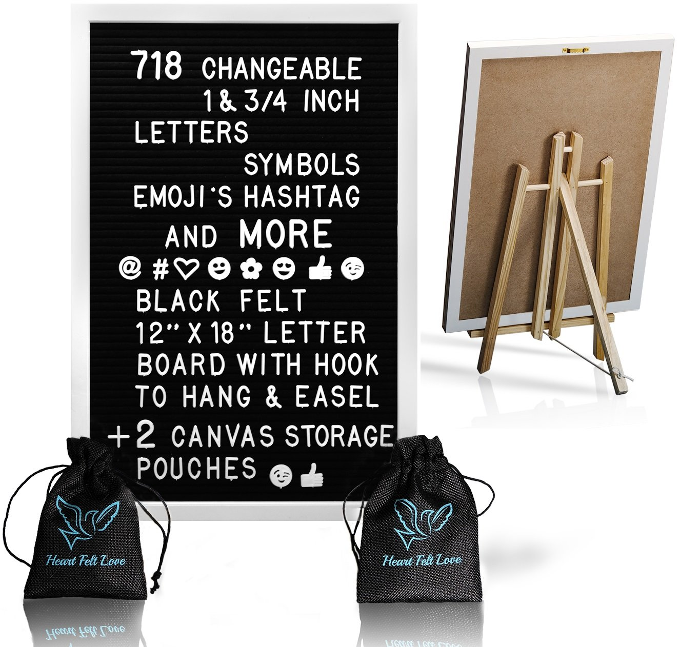 Black Felt Letter Board With White Aliminium Frame And Easel Stand 12 x 18 | 718 Changeable Characters Including 1 inch and ¾ Letters, Symbols, Emojis Hashtag + More | Hook To Hang | 2 Storage Pouches