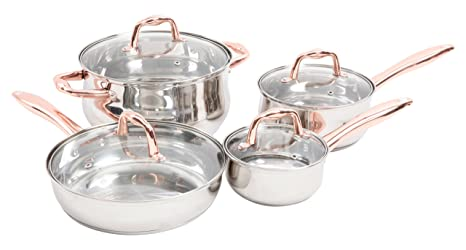 Sunbeam 112044.08 Branson 8 Piece Cookware Set, Stainless Steel, Copper Plate Handle by Sunbeam