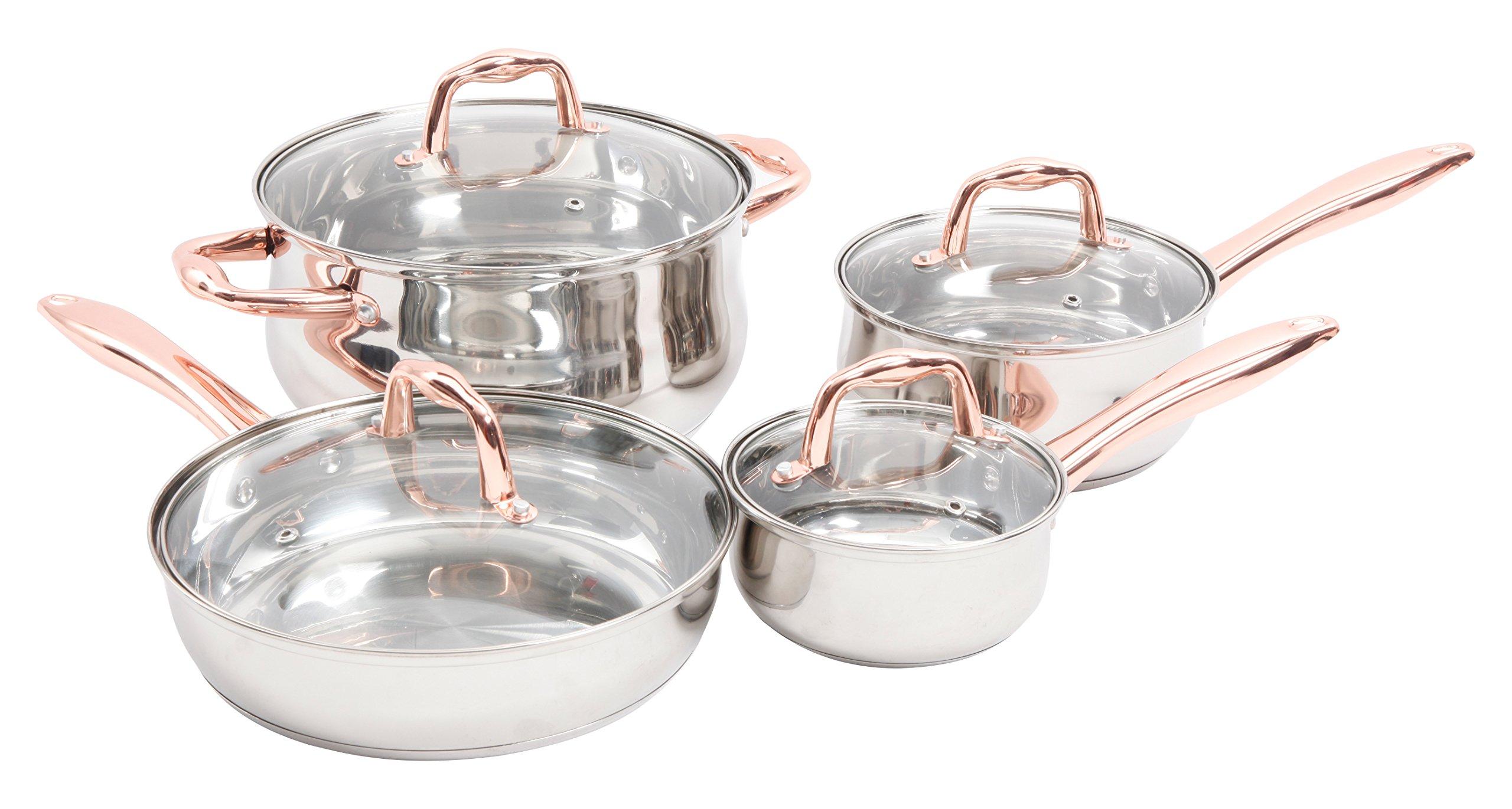 Sunbeam 112044.08 Branson 8 Piece Cookware Set, Stainless Steel, Copper Plate Handle