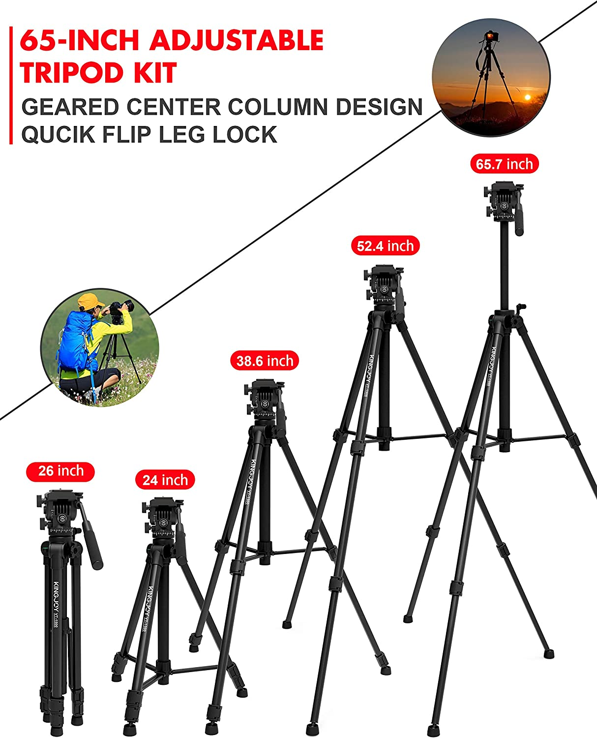 Compatible for DSLR Nikon Canon Camcorder DV with Carry Bag KINGJOY Video Tripod with Fluid Head Mid-Level Spreader 65 inch Aluminum Video Camera Tripod with Fluid Pan Drag Head VT-1500