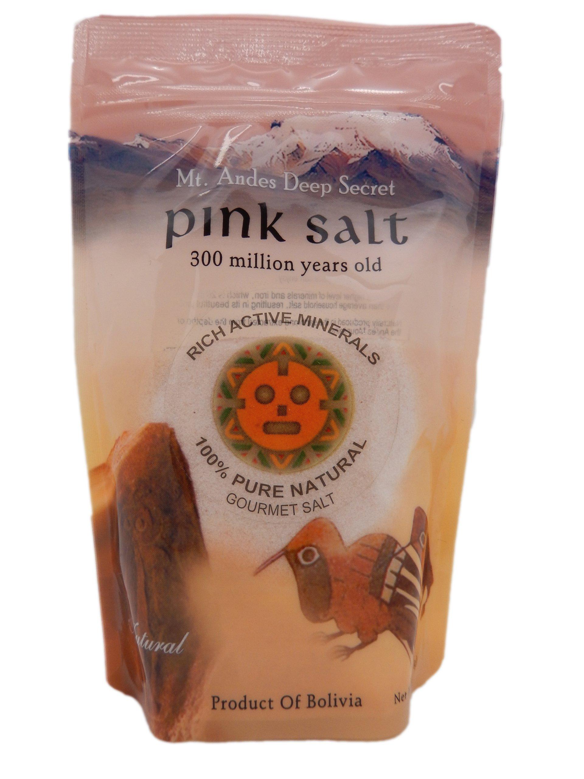 Pink Salt, Deep Secret Pink Salt (Fine), 100% Pure Natural Gourmet Salt, Bbq(barbeque) Salt, Seasoning Salt, Mt Andes Bolivia Pink Salt.