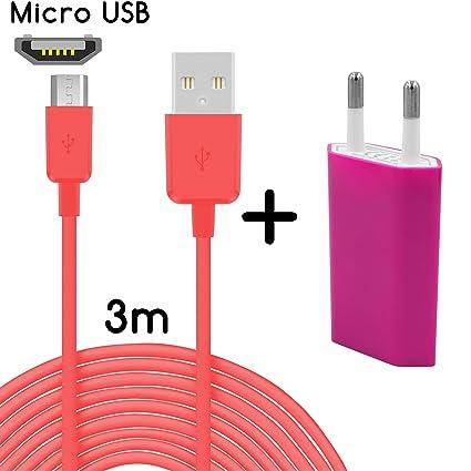 26-Adaptador de corriente+micro USB//93 rosa 3m Rosa + ...