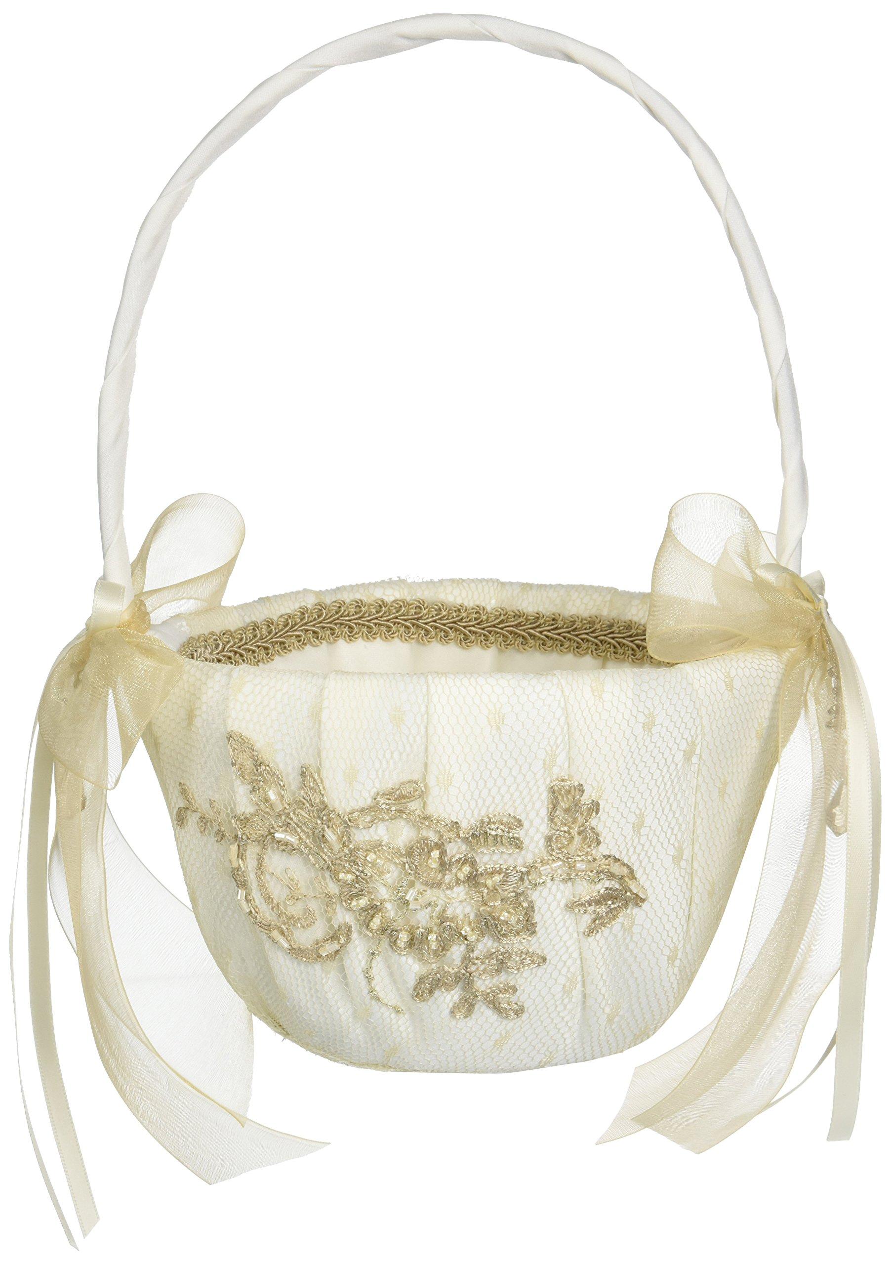 Bella Donna Wedding Accessories Flower Girl Basket, Ivory