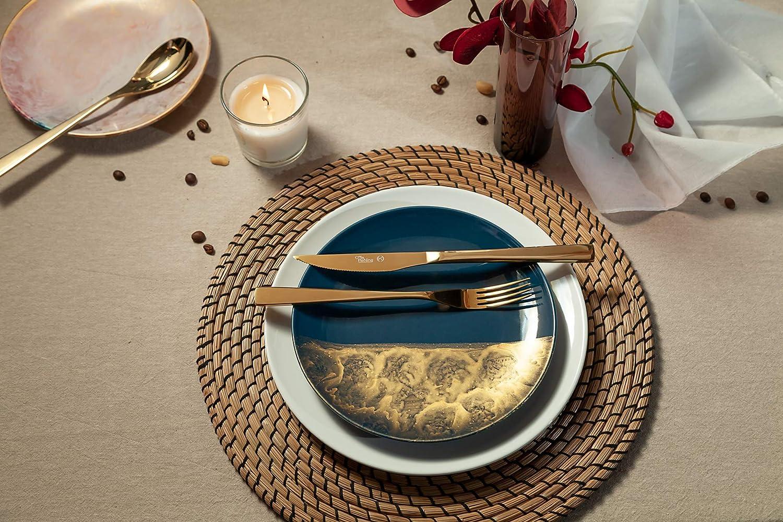 Otto Koning Set di posate 30 pezzi in acciaio inossidabile placcato in oro titanio e lucido Un moderno servizio da tavola per 6 commensali spessore 4 mm Berlin e coltello da bistecca