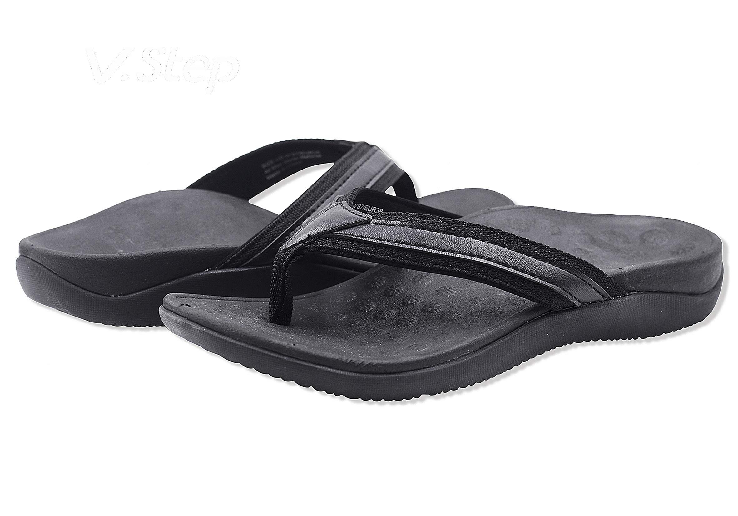 V.Step Flipthotics Orthotic Sandals - Arch Support, Metatarsal Riser & Heel Cup Prevent Foot Pain Black