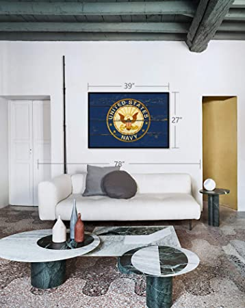 US NAVY 20x20 LARGE ROUND MILITARY NEW EMBLEM HANG WOODEN WALL HOME DECOR NEW