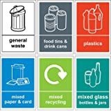 Recycling bin Sign / Sticker pack - Self adhesive vinyl Pack of 6 stickers 150mm x 100mm