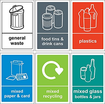 graphic relating to Recycle Labels Printable identified as Recycling bin Indicator/Sticker pack - Self adhesive vinyl Pack of 6 stickers 150mm x 100mm