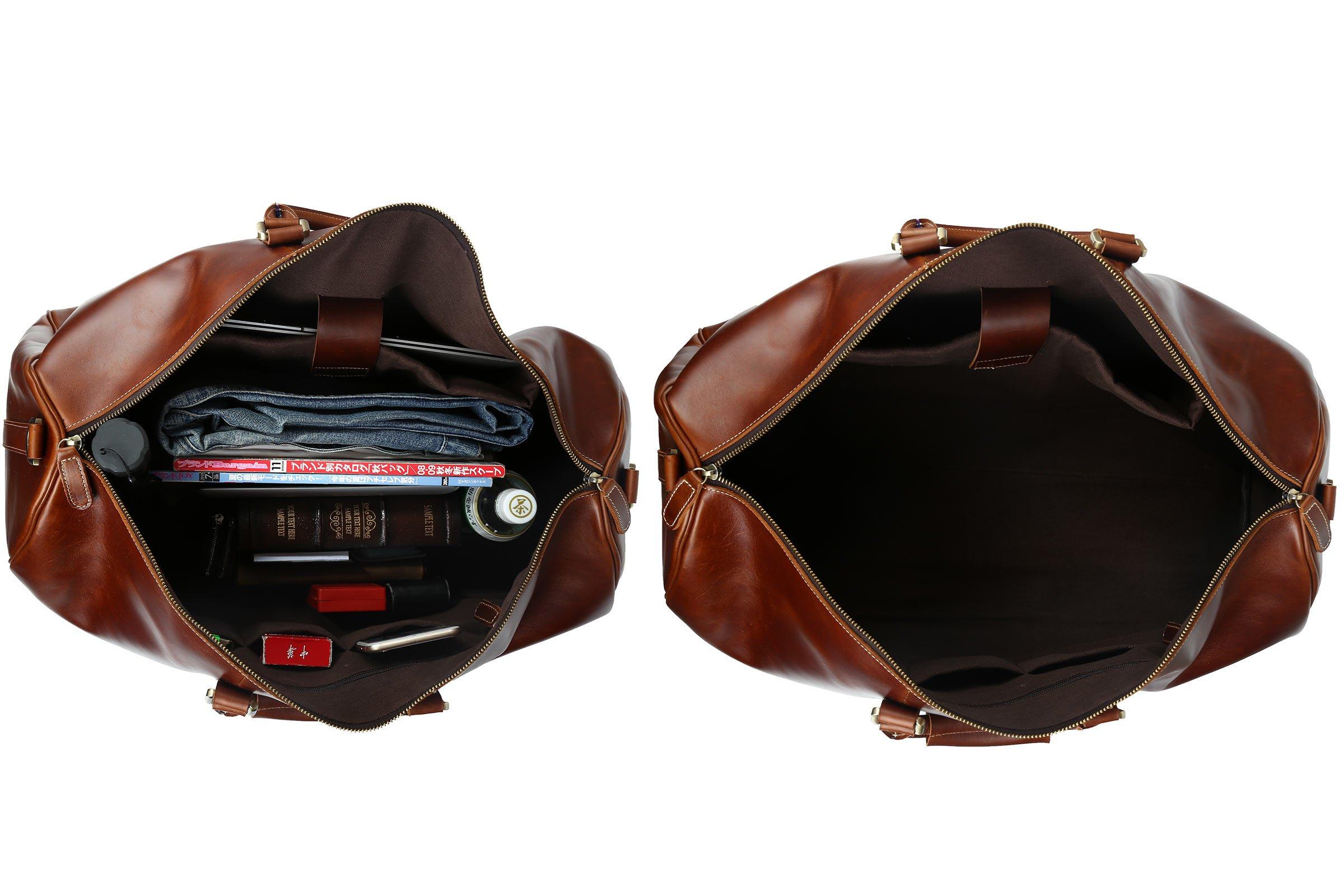 Huntvp Mens Leather Travel Duffel Bag Vintage Weekender Carry On Brown Luggage Bag by Huntvp (Image #6)
