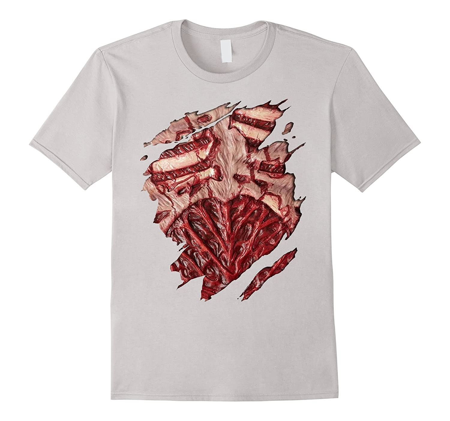 Bloody Zombie Chest Halloween Costume T-Shirt-TH