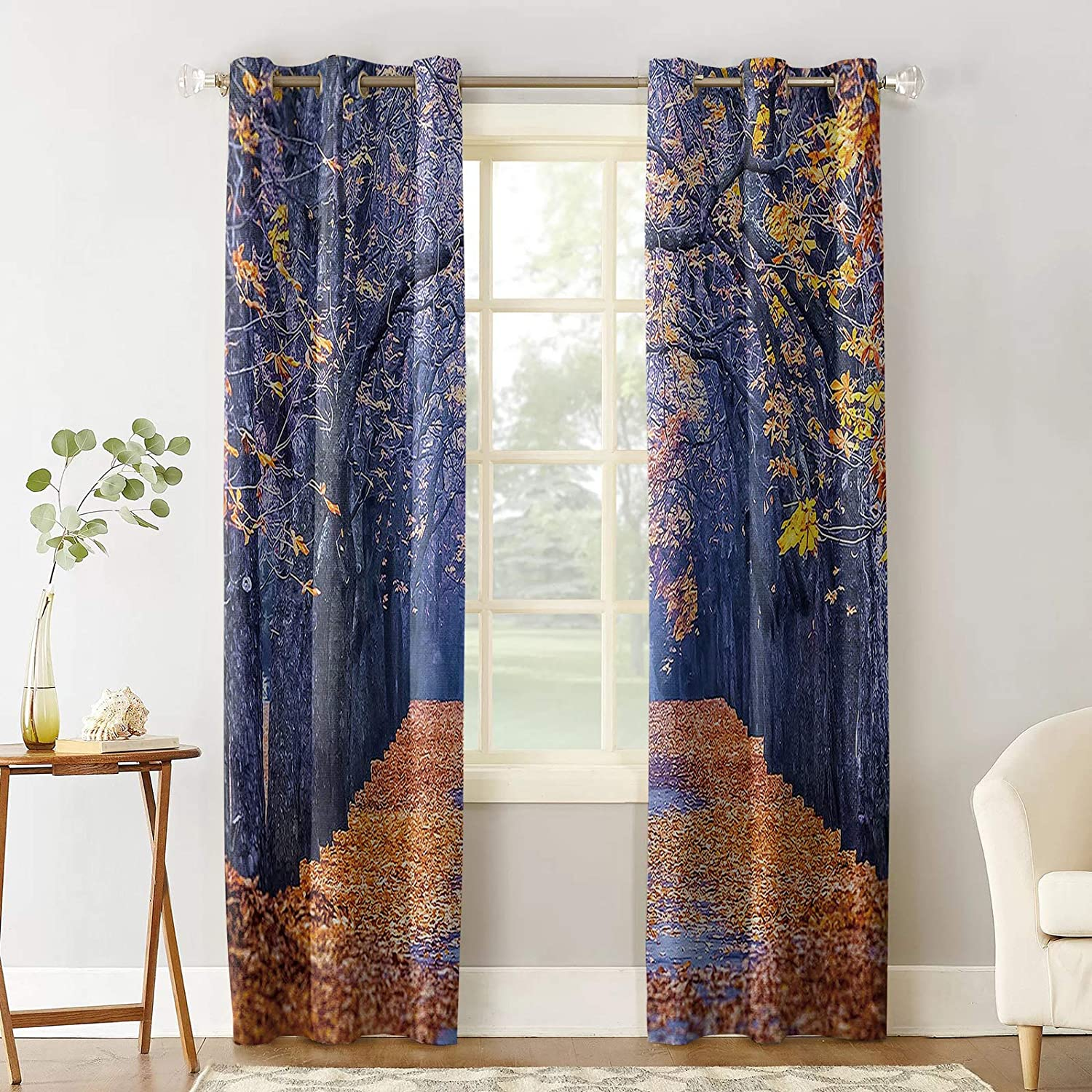 Blackout Curtains for Bedroom, Autumn Leaves Park Avenue Thermal Insulated Room Darkening Curtains, Window Curtain for Living Room, 96 Inches Length(Set of 2 Panel)