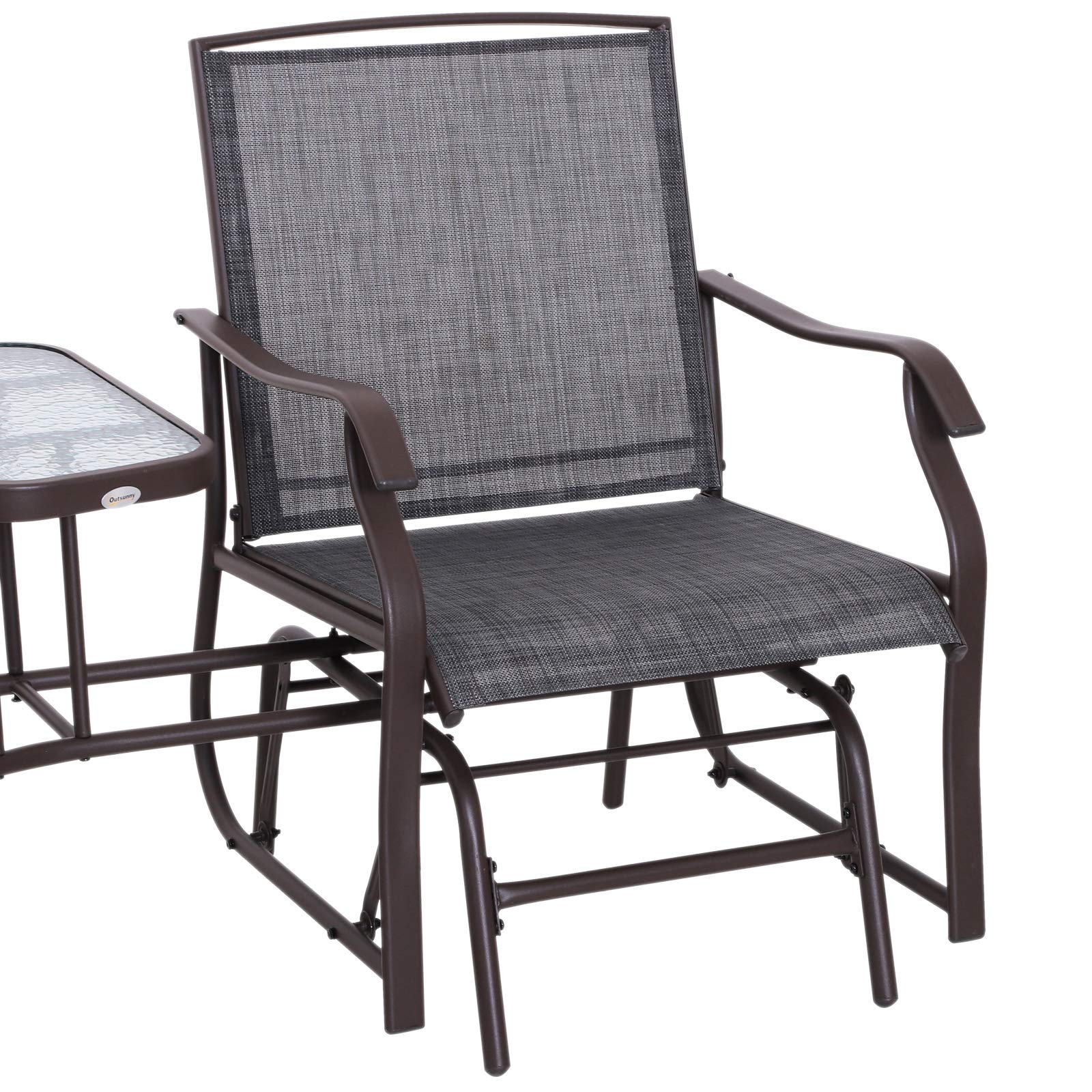 Outsunny 2 Person Outdoor Sling Fabric Double Glider Rocker Chair with Table by Outsunny (Image #4)