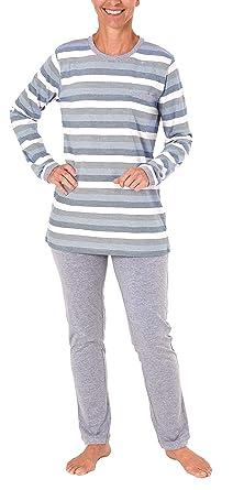 auch in /Übergr/össen NORMANN W/ÄSCHEFABRIK Toller Damen Pyjama Langarm wundersch/öne Block Streifen Optik 281 201 90 101